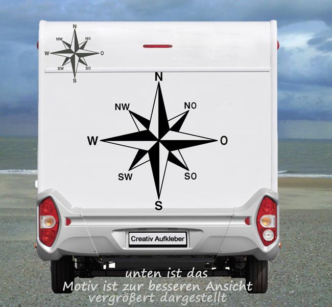 Kompass Windrose mit O für OST  Maritimer Womo - Aufkleber in TOP  Qualität